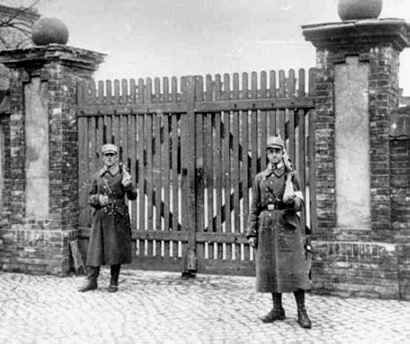 "Stormtroopers guard the new   ""concentration camp"" at Oranienburg, 1933"