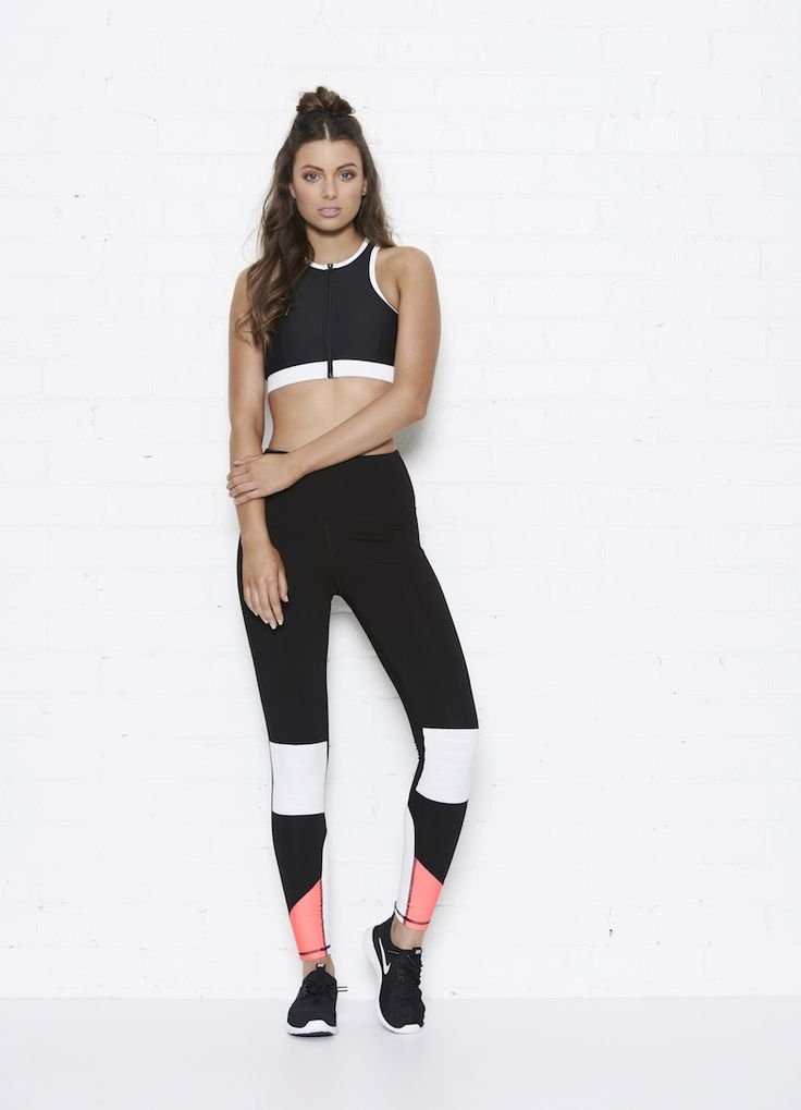 Demi Crop + Hayley Leggings  Black/white/salmon