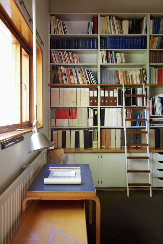 A view of the library in Alvar Aalto's Helsinki home. Gallery | Inside the Homes and Studios of the World's Finest Designers
