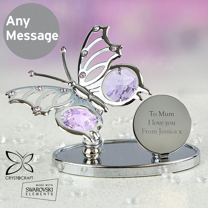 Personalised Crystocraft Butterfly Ornament. This item is silver plated and made with Swarovski elements.