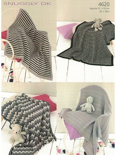 Sirdar Snuggly DK 4620: Baby Blankets Knit Patterns