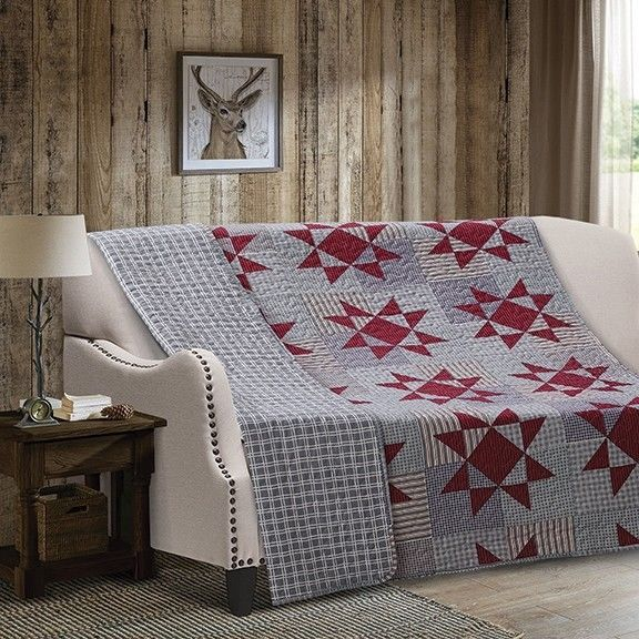 Blue Star Primitive Quilt Throw Southwestern Lodge High Quality Rustic Cabin