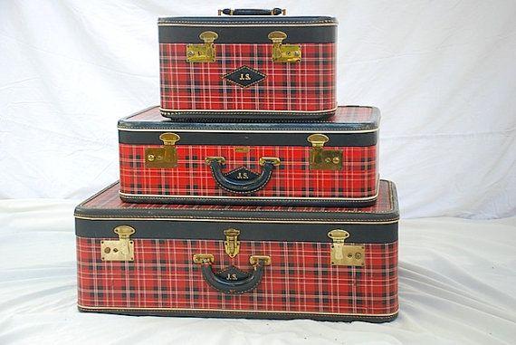 A tartan, red plaid luggage set