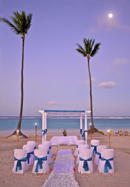 Beach wedding at Ocean Blue & Sand resort in Punta Cana, Dominican Republic.  ASPEN CREEK TRAVEL - karen@aspencreektravel.com