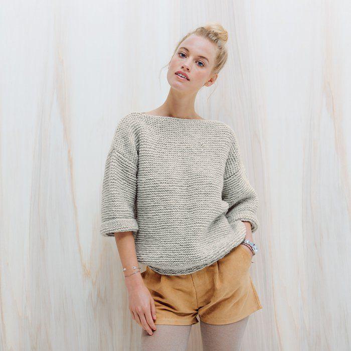 Patron gratuitpour tricoter un pull au point mousse                                                                                                                                                                                 Plus
