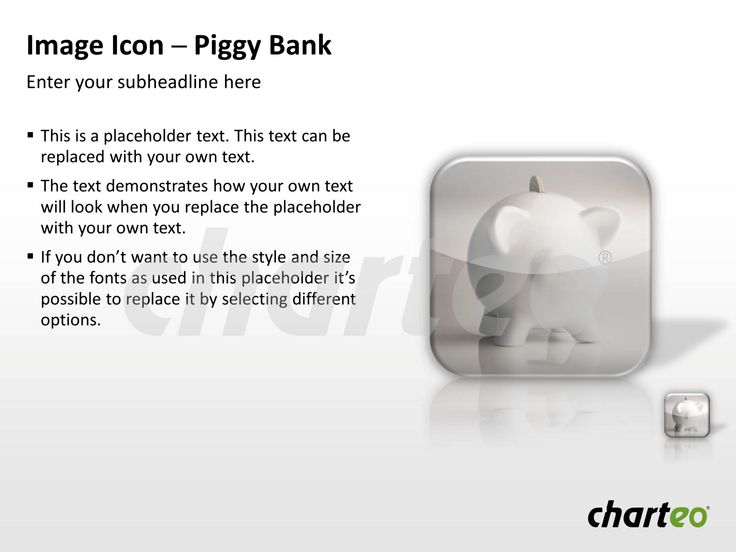 Our Piggy Bank Image Icon is a great way to present policies of cutbacks in a visually attractive way during your next PowerPoint presentation. Download now at http://www.charteo.com/en/PowerPoint/Backgrounds-Images/Photo-Icons/Image-Icon-Piggy-Bank-PowerPoint.html