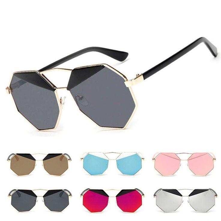 Солнцезащитные очки-восьмиугольник с пластиковыми бровями и зеркальной линзой (в наличии коричневая линза черные брови) - 1