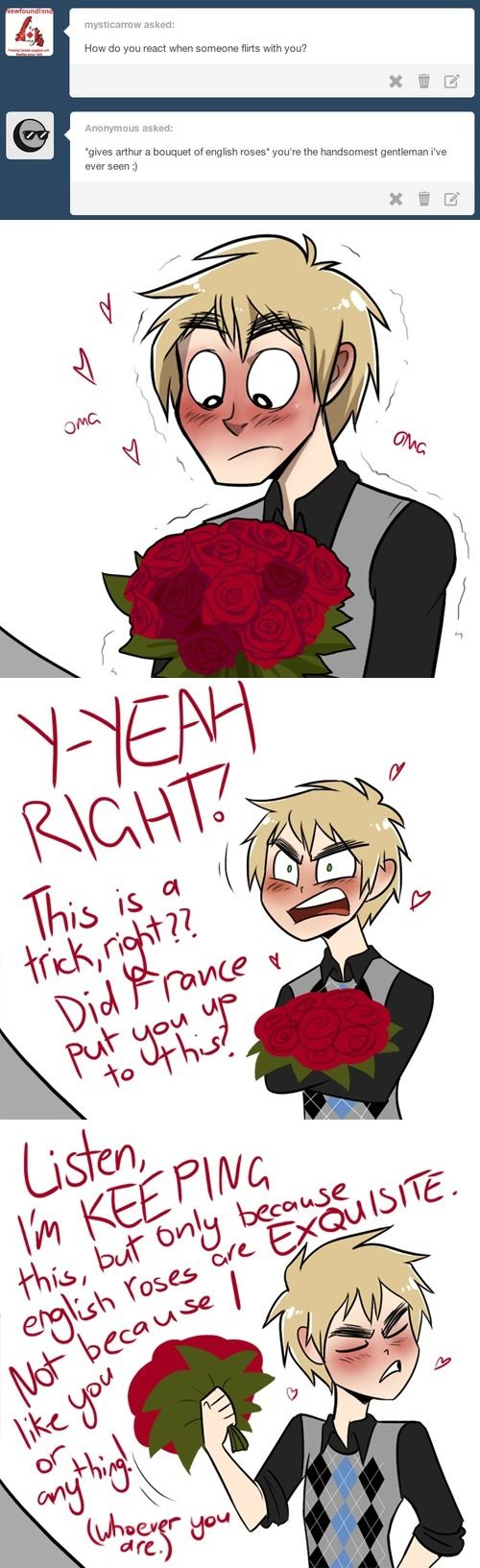 Me: *le throws some English roses at him through a window and runs away* SHIP SHIP SHIP SHIP SHIP SHIP SHIIIIIP! England: OW! WHAT THE BLOOD-- Huh? *LE BLUSHES!*