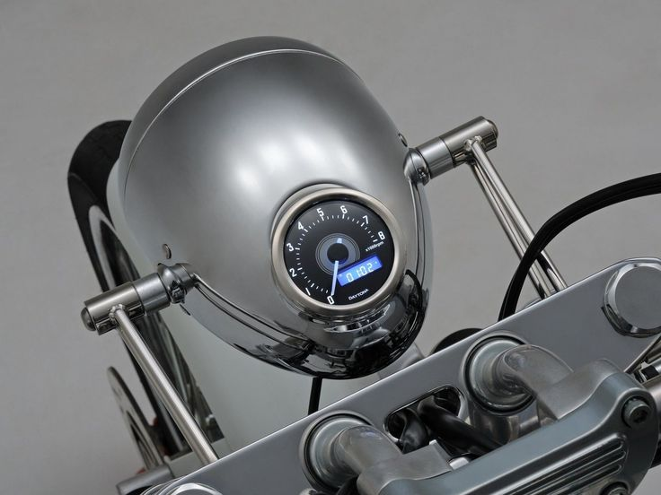 Chrome Classic Headlight Cafe Racer or Custom Bike Includes Inset Speedometer | eBay