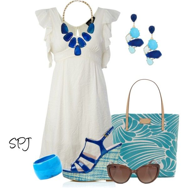 Cream summer dress with colorful accessories!