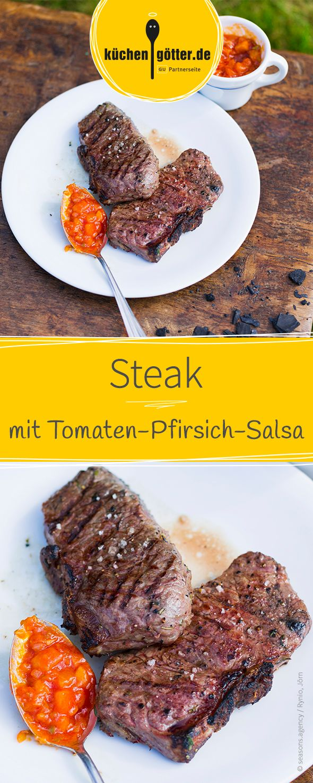 Saftiges Steak vom Grill mit fruchtiger Tomaten-Pfirsich-Salsa.