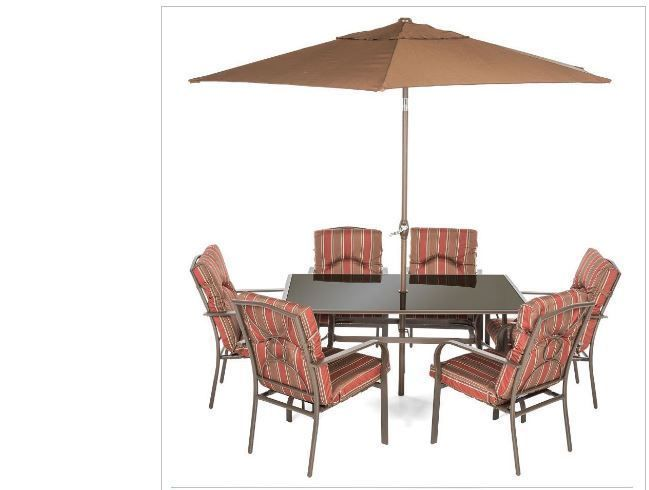 6 Seater Dining Set with Paraso Home Garden Pool Patio Relax Furniture Sets #DiningSetwithParasol