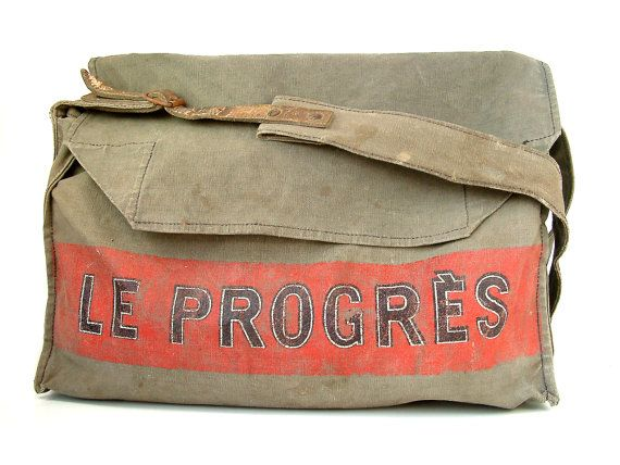 French vintage newspaper delivery bag in canvas and door Chanteduc, $160.00