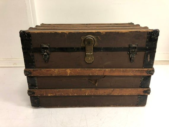Vintage Steamer Trunk Storage Chest Train Luggage Antique Flat Top Wood Toy Box Coffee Table Rustic Primitive Wood Vintage Steamer Trunk Wood Toy Box Wood Toys
