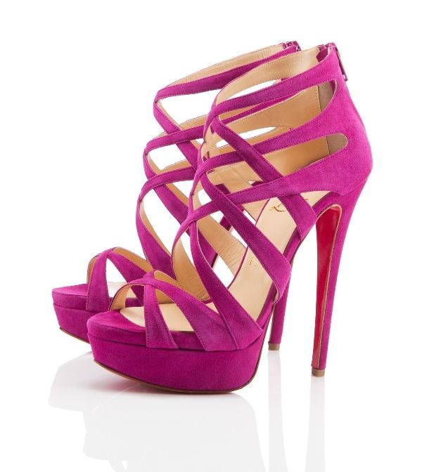 Christian Louboutin Balota Suede Sandals Framboise in magenta
