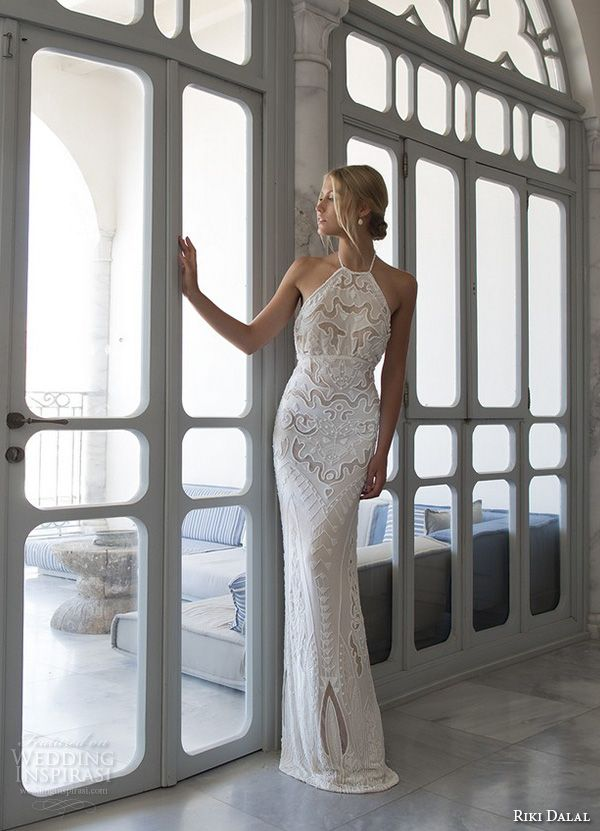 Riki Dalal Wedding Dresses — Valencia Bridal Collection | Wedding Inspirasi | Embroidered Column/Sheath Wedding Gown With Halter Neckline, No Train^^^^