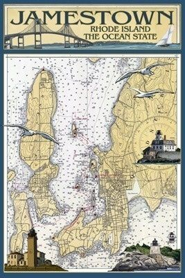Jamestown, Rhode Island Nautical Chart - Lantern Press Poster       #VisitRhodeIsland