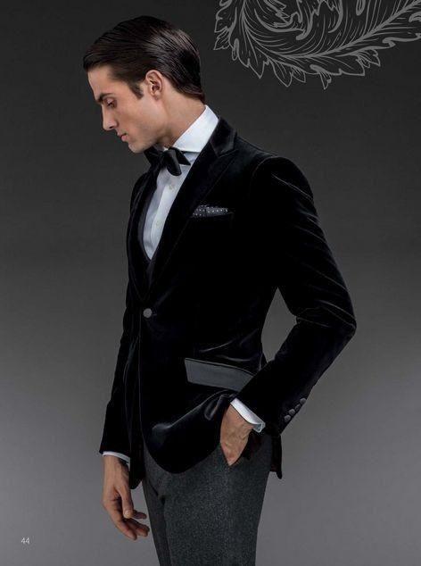 Custom Made One Button Black Velvet Groom Tuxedos Groomsmen Mens