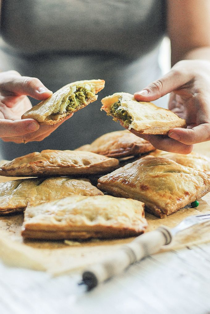 Savory Pea and Parmesan Hand Pies with Sumac Labneh