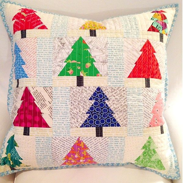 Christmas tree quilt block pillow