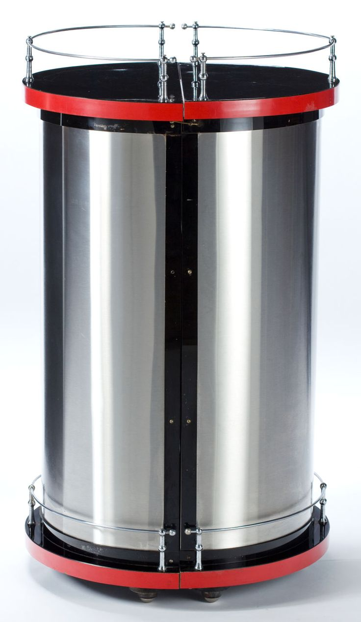 Pair of vintage danish rosewood and brushed steel side cabinets ref - An American Art Deco Brushed Steel Chromed Metal And Laminate Hinged Cylindrical Bar Maker