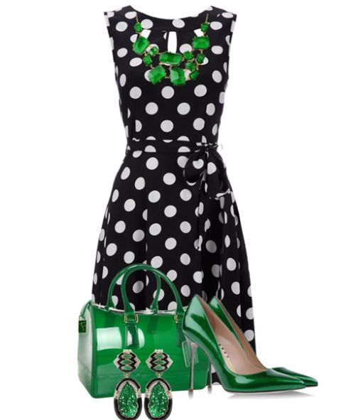 Classic polka dots with emerald green accents