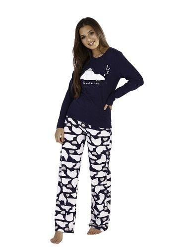 Ladies Do Not Disturb Polar Bear Print Navy Long Pyjama Set  5212a89b2