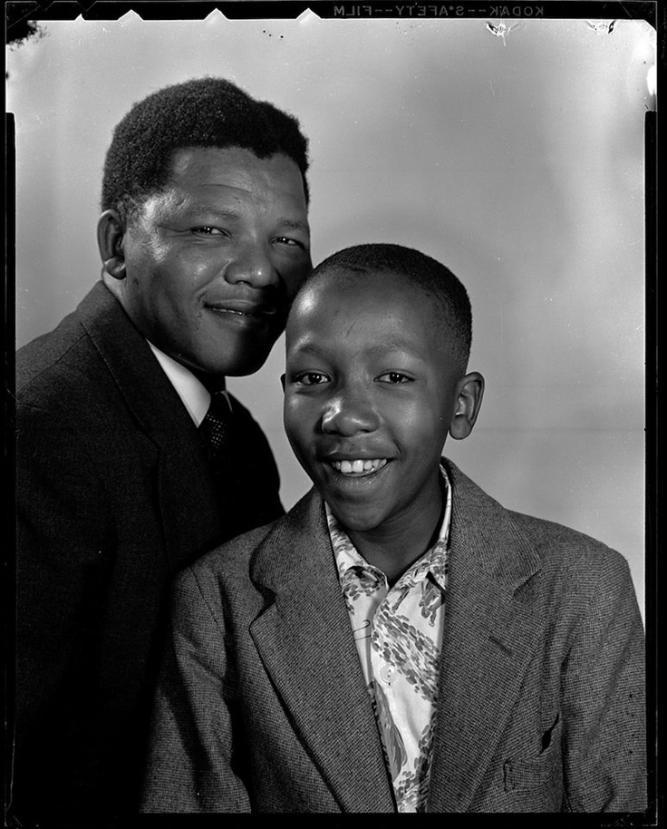 Nelson Mandela and son, Madiba Thembekile - i just love this picture. so much love and pride in the father's face. comforting to think they're reunited now.