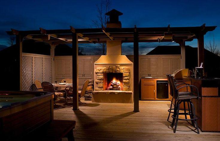 pérgolas de madera   Cenador con chimenea