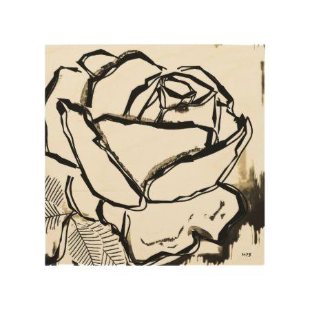 Rose Art on Wood Canvas