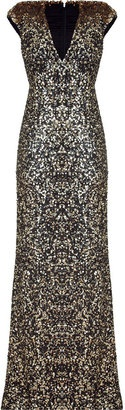 Jenny Packham Black and Gold Sequin Long Dress