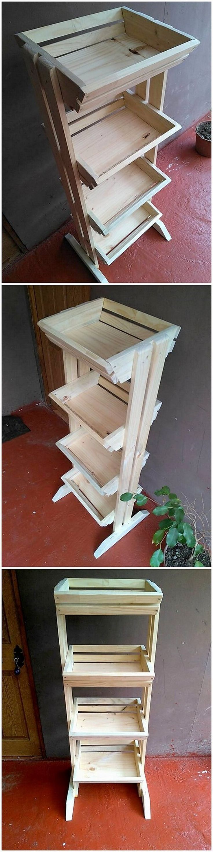 In this image, you can clearly get a view idea of the fruit and vegetable rack option for your kitchen areas. Mostly the plastic rack options gets broke up that is a complete wastage of money. So choosing the wood pallet for the fruit and vegetable rack design do come about to be one of the perfect options.
