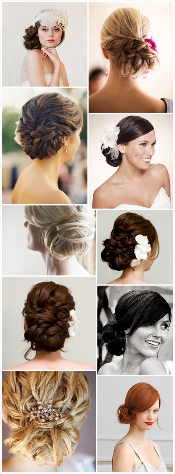 @Michelle Flynn Hendrick, I really like some of these. I think you would look good with a low, textured bun pulled a bit to the side so you can see it from the front