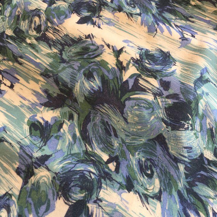Пальтовая ткань принт абстрактные цветы в бирюзовых тонах