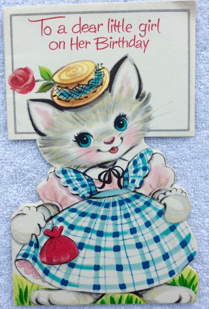 244 best vintage images on pinterest vintage cards vintage sweetest kitten blue plaid dress pink cheeks hat vintage birthday greeting card bookmarktalkfo Choice Image