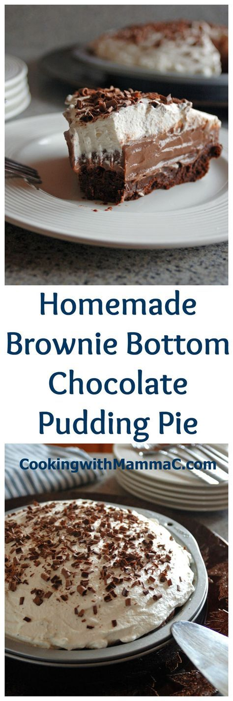 Brownie Bottom Chocolate Pudding Pie