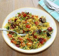 Spaanse rijstsalade met chorizo- Spanish rice salad with chorizo (recipe is in Dutch)