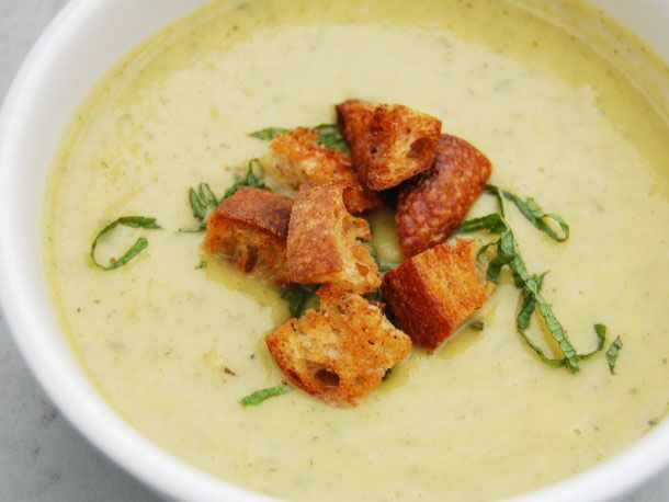 Vegetarian #recipe: Chilled Summer Squash Soup with Yogurt, Mint, and Sourdough Croutons