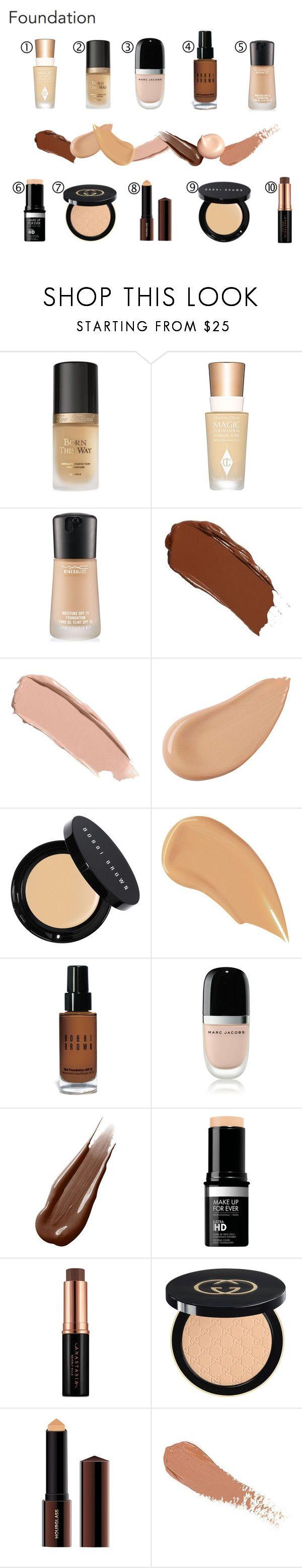 """FOUNDATION"" by spark-llay ❤ liked on Polyvore featuring beauty, Too Faced Cosmetics, Charlotte Tilbury, MAC Cosmetics, Shiseido, Bobbi Brown Cosmetics, NARS Cosmetics, Marc Jacobs, Hourglass Cosmetics and MAKE UP FOR EVER"