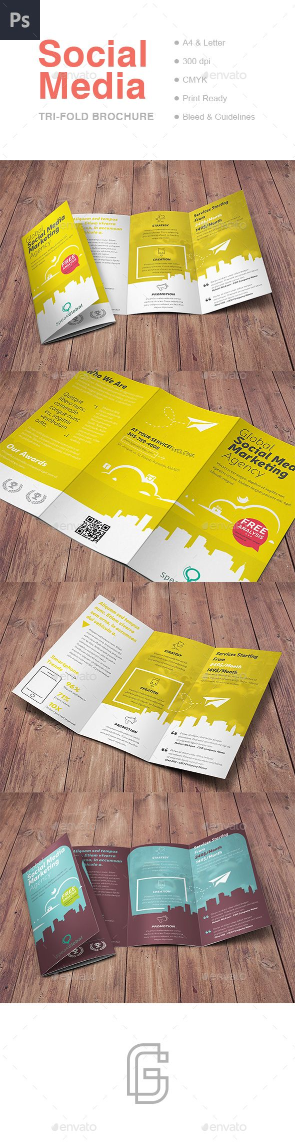 Social Media TriFold Brochure — Photoshop PSD #advertising #media • Download ➝ https://graphicriver.net/item/social-media-trifold-brochure/19165646?ref=pxcr