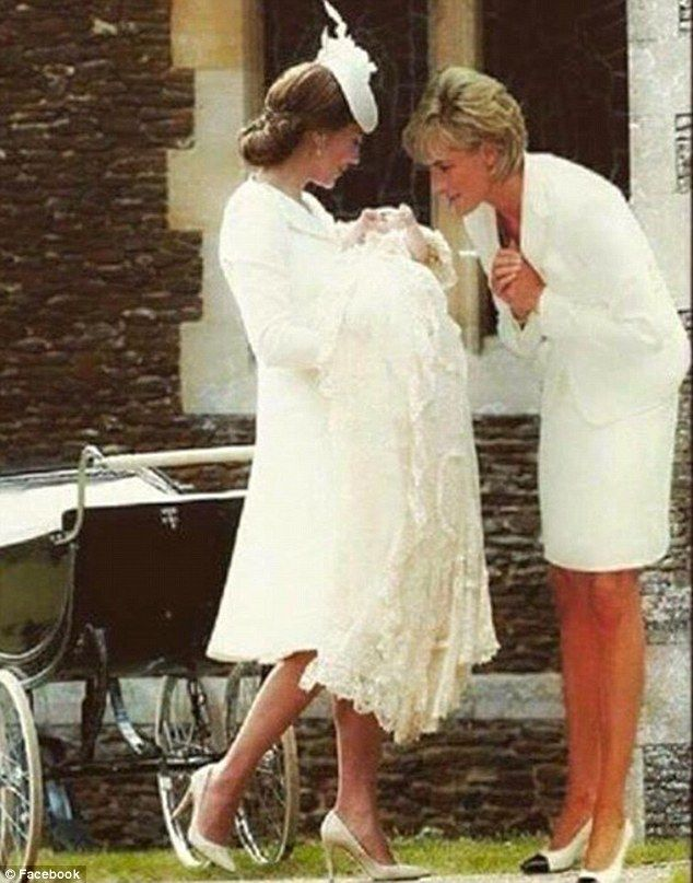A Photoshopped image showing Princess Diana superimposed into a picture from Princess Char...