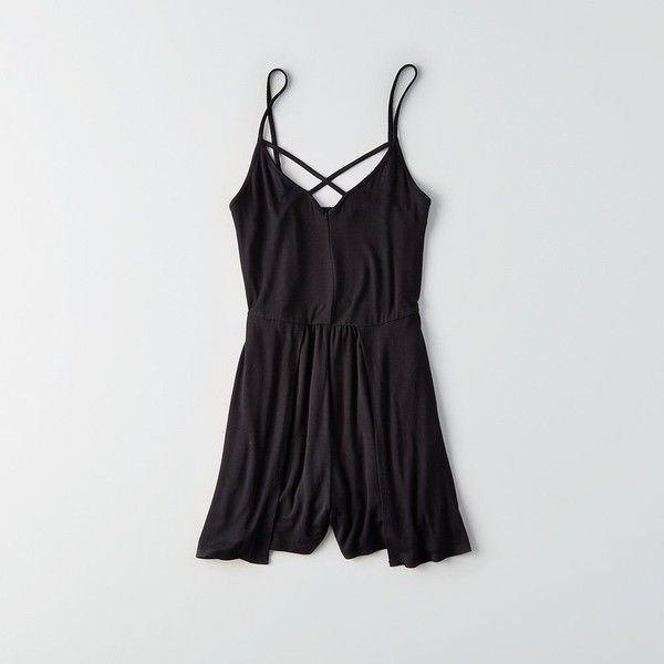 AE Strappy Smocked-Back Romper ($40) ❤ liked on Polyvore featuring jumpsuits, rompers, black, american eagle outfitters, playsuit romper and v neck romper