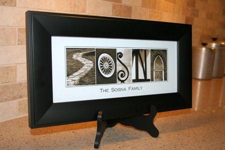 Your family name created in whimsical black and white photographs.  Great gift for grandparents.  #AlphabetArt, #grandparents, #gift