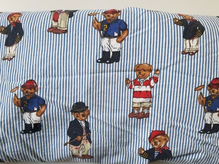 Ralph Lauren Polo Teddy Bear Twin Fitted Bed Sheet Blue & White Stripe  #RalphLauren #Childrens