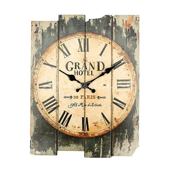 Free Shipping Unique Gift Craft New Designed Vintage Rustic Wall Clock Shabby Chic Home Office Coffeeshop Bar Decoration(China (Mainland))