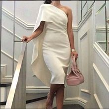 Arabic One Shoulder Robe De Cocktail Dresses Tea Length White Dubai Women Cloak Prom Party Dress Gowns 2016 Vestidos De Coctel(China (Mainland))