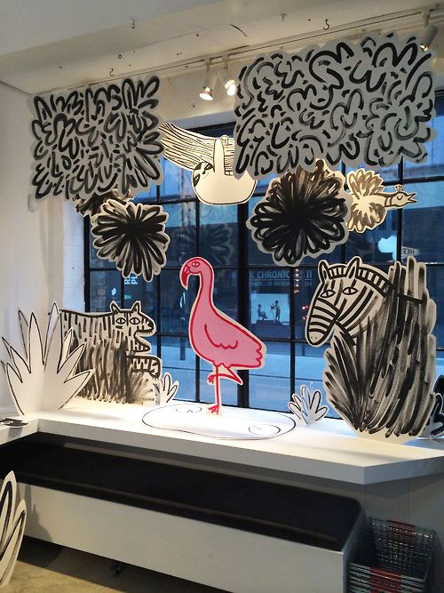Alice Bowsher recently created this cardboard jungle bonanza window display for YCN – lovely way to keep things fun and cheerful as the days start getting colder.