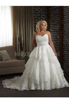 Elegant Sweetheart Neckline Applique Layers Plus Size Wedding Gown