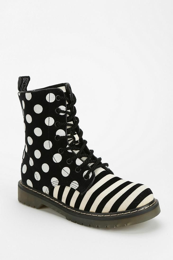 B By Aperire Polka Stripe Lace-Up Boot urbanoutfitters