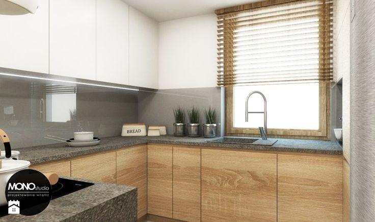 przestrzeń & faktura - Mała otwarta kuchnia w aneksie - zdjęcie od MONOstudio